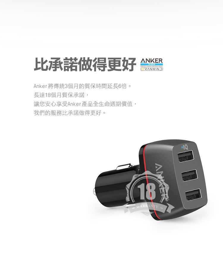 Anker PoweDrive+3 車充-擁有18個月保固