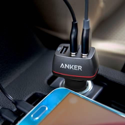 USB三口快充與愛車共同奔馳--Anker PowerDrive智慧型三孔USB車充(iphone/android)